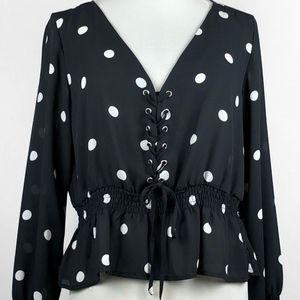 H&M Black and White Polka Dot Lace Up Blouse Sz 12